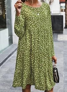Zielona sukienka Cikelly w stylu casual z długim rękawem z dekoltem w łódkę