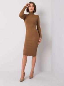 Brązowa sukienka Sheandher.pl z długim rękawem