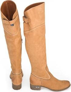 Brązowe kozaki Zapato ze skóry za kolano