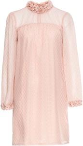 Różowa sukienka bonprix BODYFLIRT midi z szyfonu w stylu casual