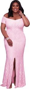 Elegrina elegancka sukienka duże rozmiary kenly różowa