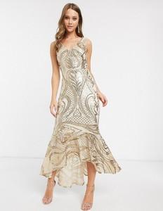 Złota sukienka Forever U maxi z dekoltem w kształcie litery v
