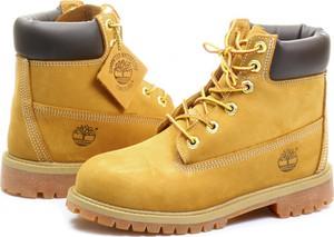 Żółte buty dziecięce zimowe Timberland sznurowane