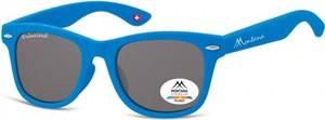 Stylion Okulary dziecięce nerdy wayfarer Montana 967C polaryzacyjne matowe niebieskie