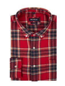Czerwona koszula McNeal z kołnierzykiem button down z bawełny