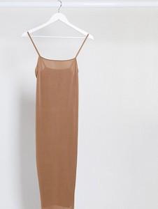 Fashionkilla Maternity — Camelowa sukienka midi na ramiączkach-Beżowy