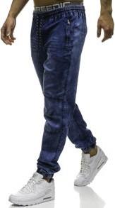 Granatowe jeansy denley z elastanu