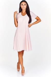 Różowa sukienka Fokus z dekoltem w kształcie litery v rozkloszowana z krótkim rękawem