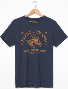 Granatowy t-shirt House z krótkim rękawem w młodzieżowym stylu