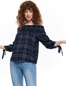 Granatowa bluzka Top Secret hiszpanka w stylu boho z tkaniny