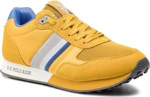 c21190fc Żółte buty sportowe U.S. Polo sznurowane ze skóry ekologicznej w sportowym  stylu