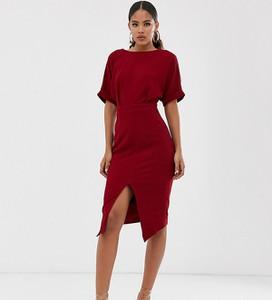 Czerwona sukienka Asos z krótkim rękawem midi