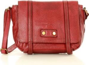 Czerwona torebka Marco Mazzini Handmade matowa na ramię ze skóry