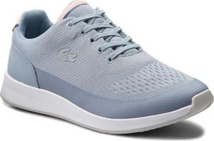 Błękitne buty sportowe Lacoste ze skóry ekologicznej sznurowane