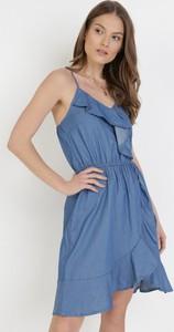 Sukienka born2be z dekoltem w kształcie litery v mini kopertowa
