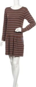 Brązowa sukienka Dolores Promesas mini w stylu casual z długim rękawem