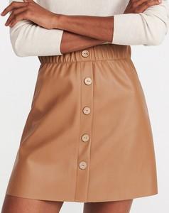 Brązowa spódnica Reserved mini ze skóry w stylu casual