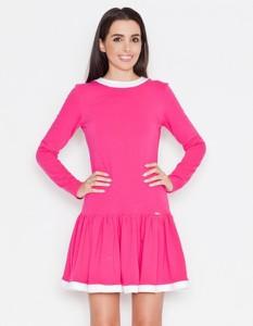 Różowa sukienka LENITIF z długim rękawem mini