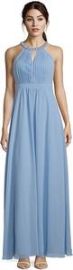 Niebieska sukienka Vera Mont z dekoltem halter maxi rozkloszowana