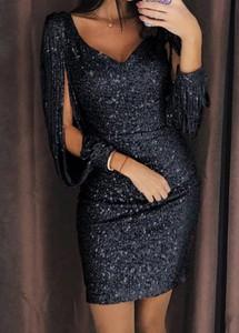 Czarna sukienka Sandbella z długim rękawem dopasowana mini