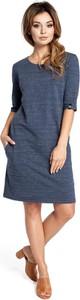 Niebieska sukienka Be midi w stylu casual z okrągłym dekoltem