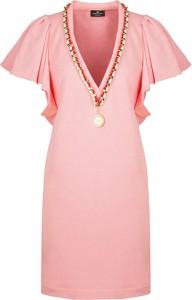 Sukienka Elisabetta Franchi prosta z dekoltem w kształcie litery v mini