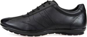 Brązowe buty sportowe Geox z tkaniny sznurowane