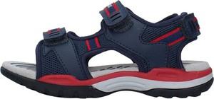 Granatowe buty dziecięce letnie Geox dla chłopców na rzepy ze skóry