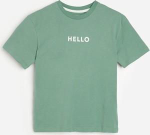 Miętowa koszulka dziecięca Reserved dla chłopców z krótkim rękawem