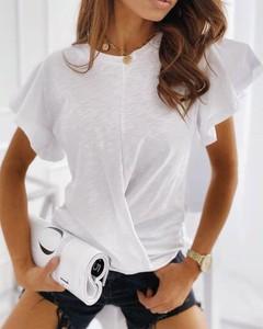 Bluzka Kendallme z krótkim rękawem z bawełny z okrągłym dekoltem