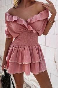 Różowa sukienka IVET z krótkim rękawem mini