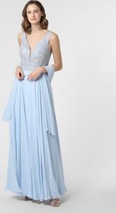 Niebieska sukienka Luxuar Fashion maxi rozkloszowana na ramiączkach