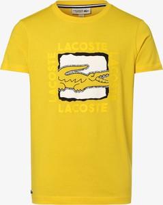 Żółty t-shirt Lacoste z krótkim rękawem