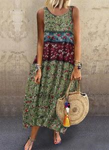 Sukienka Cikelly z okrągłym dekoltem maxi w stylu boho