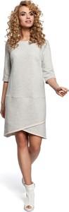 Sukienka MOE z okrągłym dekoltem midi w stylu casual