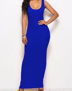 Niebieska sukienka Kendallme maxi na ramiączkach prosta