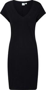 Czarna sukienka Gap z dekoltem w kształcie litery v w stylu klasycznym z krótkim rękawem
