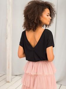 Czarna bluzka Basic z dresówki z dekoltem w kształcie litery v w stylu casual