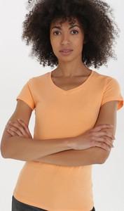 Pomarańczowy t-shirt born2be w stylu casual z okrągłym dekoltem