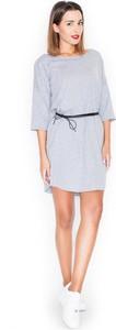 Niebieska sukienka Katrus mini w stylu casual z okrągłym dekoltem