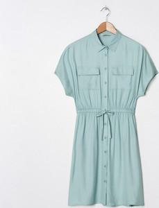 Zielona sukienka House z krótkim rękawem koszulowa