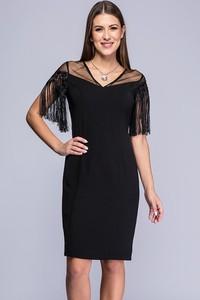 Czarna sukienka Semper w stylu boho z dekoltem w kształcie litery v midi