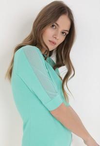 Zielona bluzka born2be z okrągłym dekoltem z długim rękawem