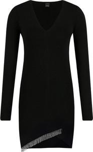 Czarna sukienka Pinko z długim rękawem