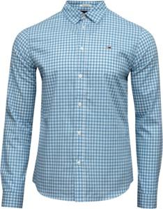 Niebieska koszula Tommy Hilfiger w stylu casual z bawełny z długim rękawem