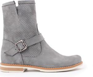 Botki zapato ze skóry na obcasie w stylu casual