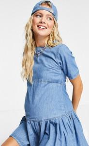 ASOS DESIGN Maternity – Niebieska luźna sukienka T-shirtowa z miękkiego jeansu-Niebieski