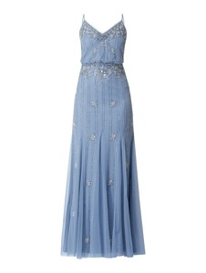 Niebieska sukienka Lace & Beads z dekoltem w kształcie litery v