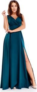 Niebieska sukienka Ptakmoda.com maxi z dekoltem w kształcie litery v