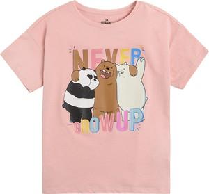 Różowa koszulka dziecięca Cool Club z bawełny z krótkim rękawem